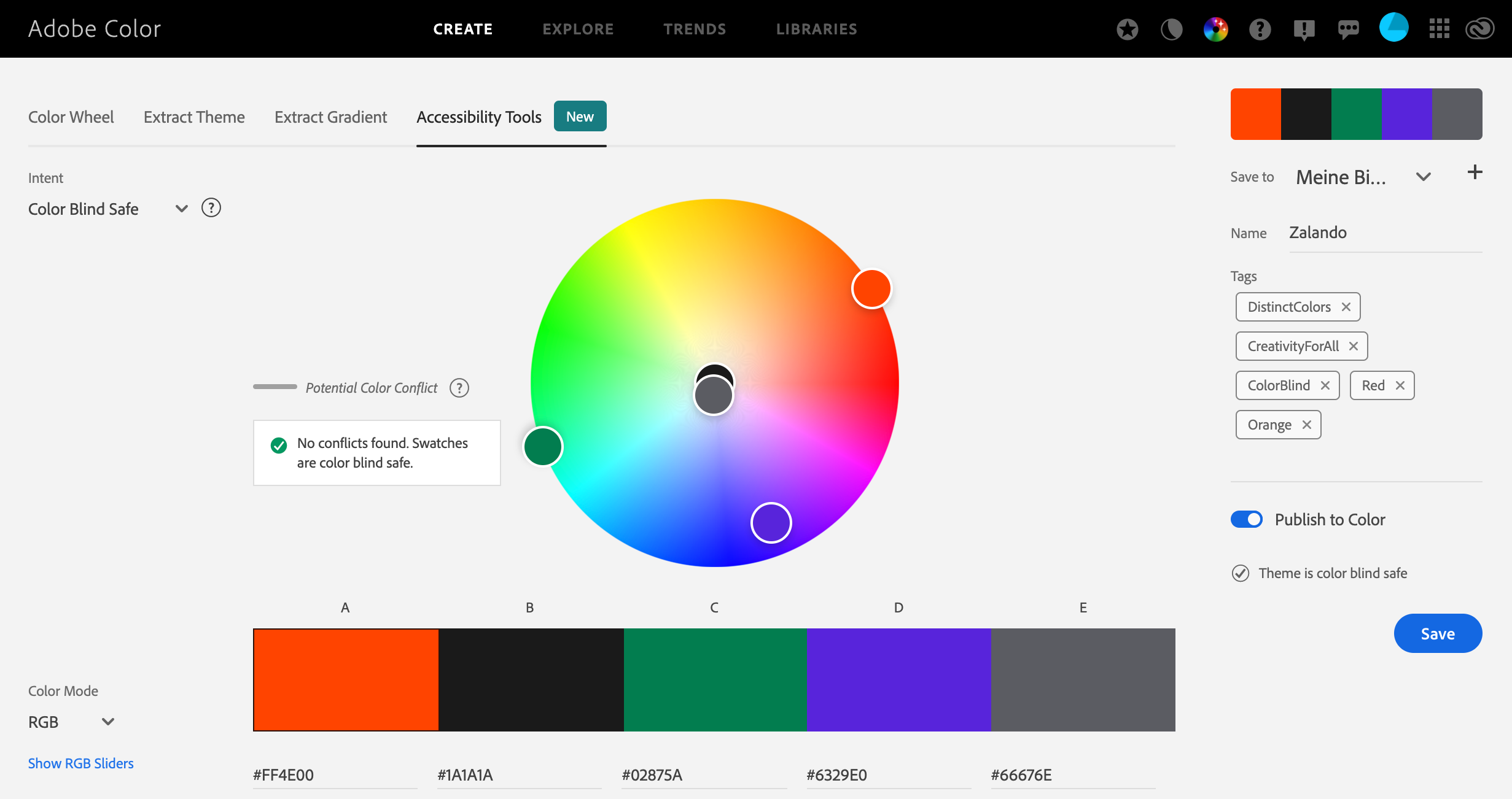 The primary colors used color checked with the Adobe Accessibility Tool—no issue for color-blind users.